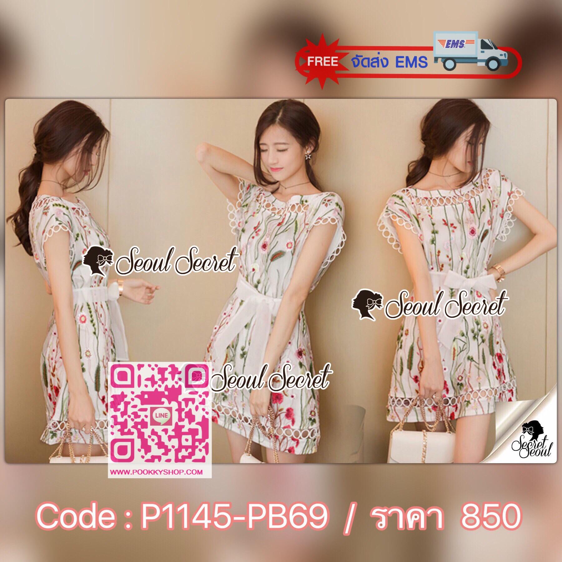 Seoul Secret Say's... Lady Flora Color Stick Sweet Dress Material : งานเดรสงานสวยด้วยเนื้อผ้าเน็ทโพลีเอสเตอร์ปักลายดอกไม้ทั้งตัว ดอกไม้สีสดใสน่าใส่มากคะ ทรงสวยใส่สบาย มีดีเทลสวยๆ ด้วยงานเย็บแต่งด้วยผ้าลูกไม้ทอลายวงกลม เย็บแต่งที่ช่วงคอ ชายเดรสและชายแ