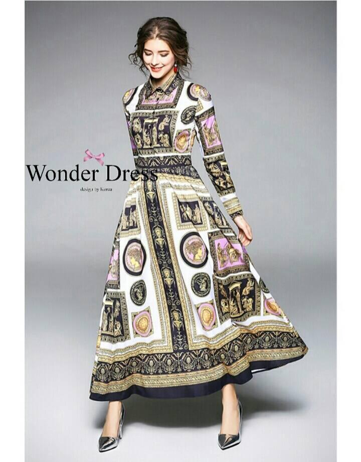 เดรสแฟชั่น เดรสตัวยาวลายแบรนด์ดัง เนื้อผ้า Polyester เนื้อผ้าลื่นมันวาวผ้าสวยมาก