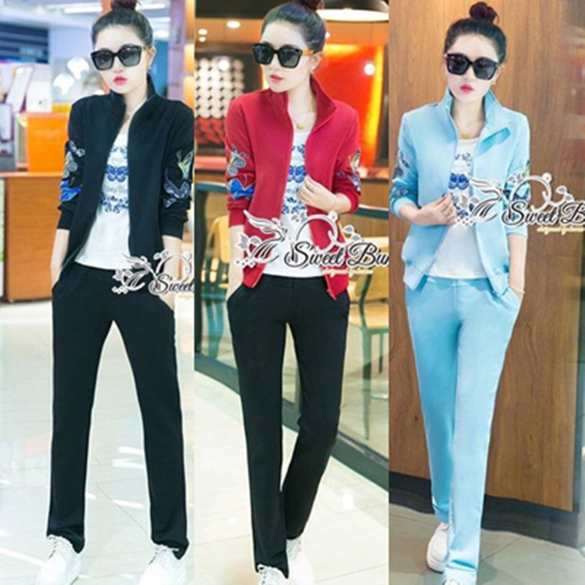 ชุดเซทแฟชั่น ชุดเซ็ทวอล์มเกาหลี 3 ชิ้น เสื้อแจ๊คเก็ต+เสื้อยืด+กางเกง