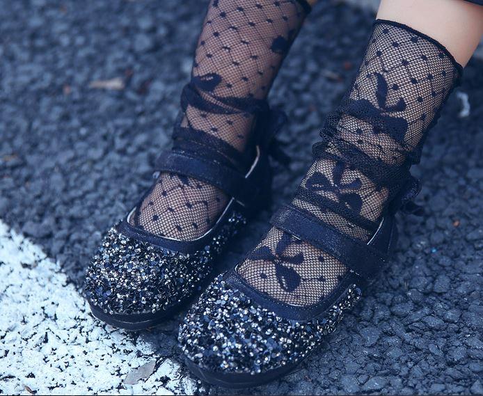 ถุงเท้าเด็กตาข่าย ถุงเท้าแบบโปร่ง ลายโบว์สีดำ