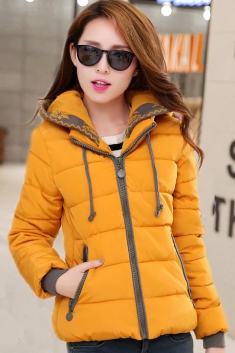 Pre-Order เสื้อโค้ทผู้หญิงแฟชั่น สีเหลือง แต่งริมสีเทา มีฮู๊ด แขนจั๊ม แฟชั่นเกาหลี