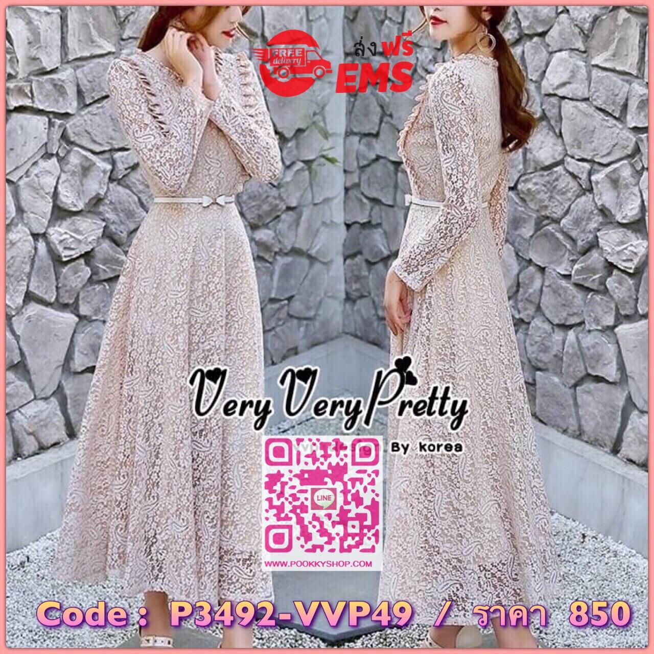 Sweetie Fashion Korea Florals Lace Dress เดรสผ้าลูกไม้ทั้งตัวสไตล์งานแบรนด์ค่ะ เนื้อผ้าลูกไม้ลวดลายดอกไม้สวยทั้งตัว ทรงคอกลมแขนยาว เข้ารูปช่วงเอว กระโปรงปล่อยบานยาว จับจีบเล็กๆตีเป็นเหลี่ยมให้ช่วงอกของเสื้อ เพิ่มความสวยให้กับชุดได้ลงตัวค่ะ เนื้อผ้าใส่สบาย