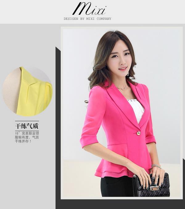 พร้อมส่ง เสื้อสูททำงาน เสื้อสูทผู้หญิง สูทลำลอง สูทคอวีมีปก แขนสามส่วน แฟชั่นชุดทำงานสไตล์เกาหลี สีชมพูบานเย็น