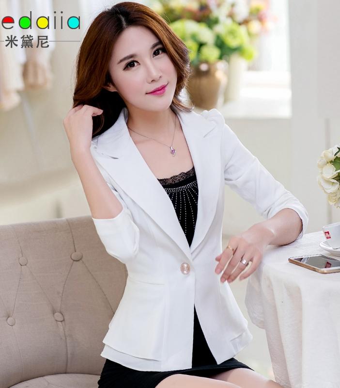 Pre-Order เสื้อสูทแฟชั่น สีขาว ปกสูท ติดกระดุมเม็ดเดียว เสื้อสูทเข้ารูปสุดหรู มีระบายที่ชายเสื้อด้านหลัง