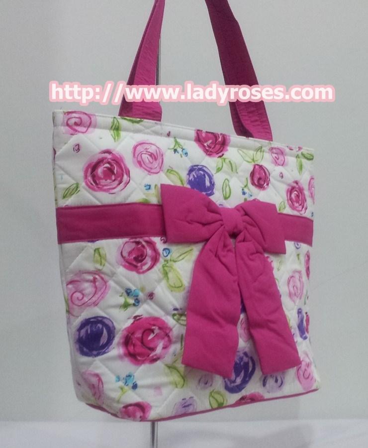 กระเป๋าสะพาย นารายา ผ้าคอตตอน พื้นสีขาว ลายดอกไม้ หลากสี ผูกโบว์ (กระเป๋านารายา กระเป๋าผ้า NaRaYa กระเป๋าแฟชั่น)