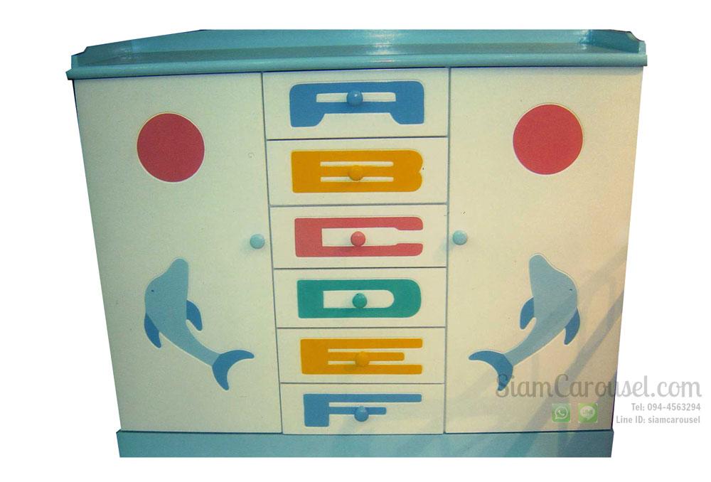 ตู้เสื้อผ้าเด็ก 2 ประตู 6 ลิ้นชัก ลาย ABCDEF