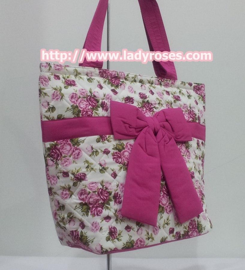 กระเป๋าสะพาย นารายา ผ้าคอตตอน พื้นสีขาว ลายดอกกุหลาบ สีชมพู ผูกโบว์ (กระเป๋านารายา กระเป๋าผ้า NaRaYa กระเป๋าแฟชั่น)