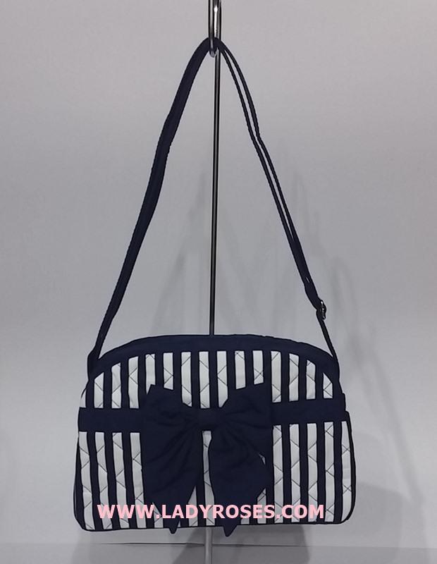 กระเป๋าสะพาย นารายา ผ้าคอตตอน ลายทาง สีน้ำเงิน-ขาว ติดโบว์ (กระเป๋านารายา กระเป๋าผ้า NaRaYa กระเป๋าแฟชั่น)