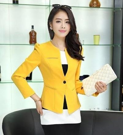 Pre-Order เสื้อสูททำงานแขนยาว เสื้อสูทผู้หญิง สูทลำลอง สีเหลือง แฟชั่นชุดทำงานสไตล์เกาหลีปี 2014