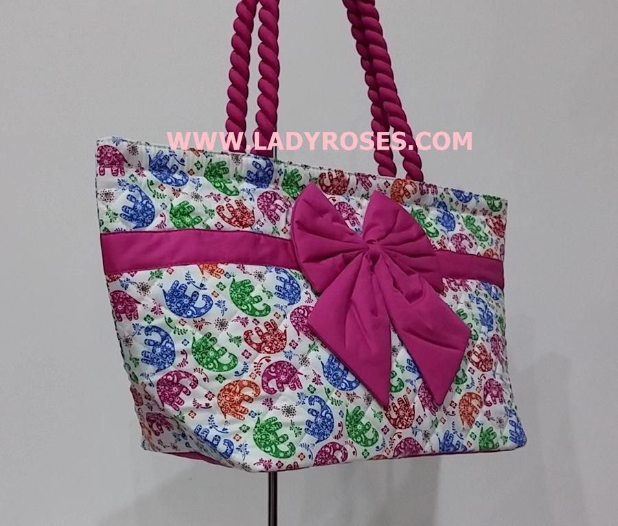กระเป๋าสะพาย นารายา Size L ผ้าคอตตอน พื้นสีขาว ลายช้าง ผูกโบว์ สายหิ้ว หูเกลียว (กระเป๋านารายา กระเป๋าผ้า NaRaYa กระเป๋าแฟชั่น)