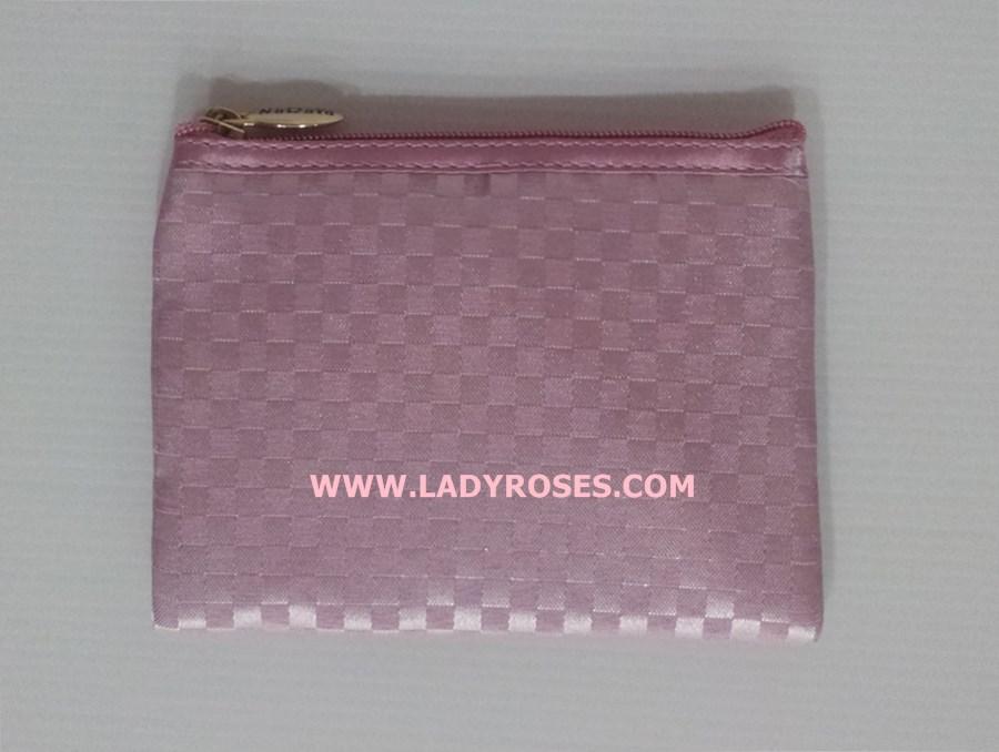 กระเป๋าสตางค์ ใส่เหรียญ นารายา ผ้าซาตินมัน ลายตารางเล็ก สีชมพู ( Wallet กระเป๋านารายา กระเป๋าผ้า NaRaYa )
