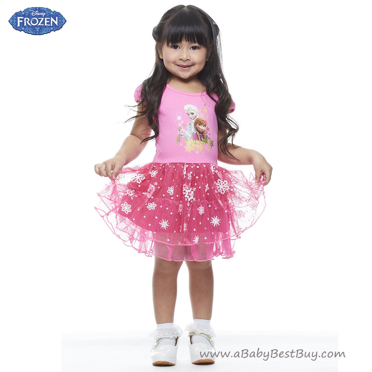 ( 1-2-3 ปี ) ชุดเดรส สั้นสีชมพู แขนกุด ลายเจ้าหญิงโฟรเซ่น ดิสนีย์แท้ ลิขสิทธิ์แท้ (สำหรับเด็ก1-2-3 ปี)