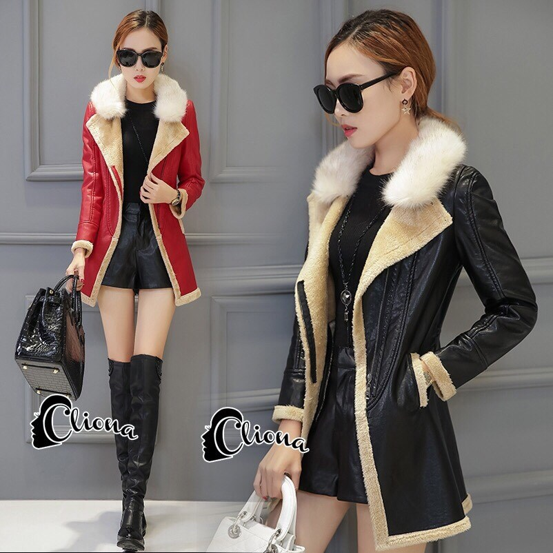 เสื้อคลุมแจ็คเก็ตหนัง สีส้ม สีดำ ดีเทคด้วยการดีไซร์ซิปรุดสุดเก๋ สไตล์เกาหลี ใส่แล้วดูเท่ห์ Premium Quality by Cliona