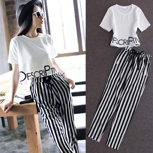 ++สินค้าพร้อมส่งค่ะ++ชุดแฟชั่นเซ็ทเกาหลี เสื้อคอกลม แขนสั้น เอวลอยสกรีนชายเสื้อน่ารัก+กางเกงขายาวลายริ้ว ผ้าชีฟองเก๋ – สีขาว