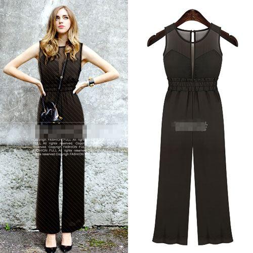 OUREMU ++สินค้าพร้อมส่งค่ะ++Jumpsuit กางเกงขายาวเกาหลี คอกลม แขนกุด ตัวเสื้อตาข่าย ด้านหลังแฉกเกาะกระดุม ทรงสวย – สีดำ