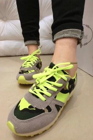 Pre Order - รองเท้าผ้าใบแฟชั่น ลายทหาร สีสดใส สี : สีเหลือง / สีแดง / สีเขียว