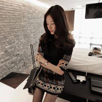 PreOrderไซส์ใหญ่ - เดรสแฟชั่นสไตล์เกาหลี ไซส์ใหญ่ ผ้าโพลีเอสเตอร์พิมพ์ลายเก๋ ซิบยาว