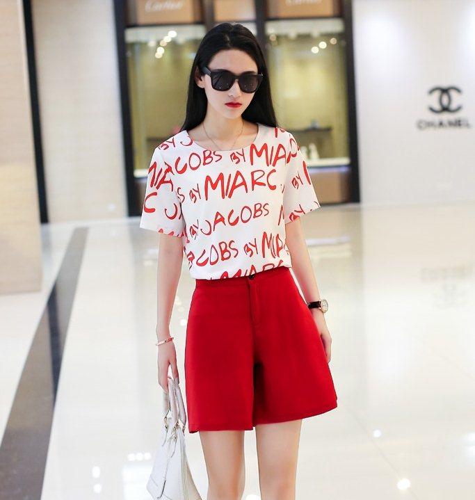 PreOrderคนอ้วน - เซตคู่ คนอ้วน ไซส์ใหญ่ เสื้อเชิ้ตแฟชั่น เสื้อแฟชั่น ผ้าฝ้ายพิมพ์ลายตัวอักษร + กางเกงขาสั้นสีแดง