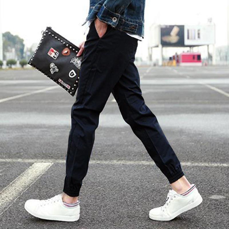 **พร้อมส่ง**กางเกงลำลองขายาว แนวสปอร์ตขาจั้ม สีพื้นคลาสสิค สีดำ ไซส์ L