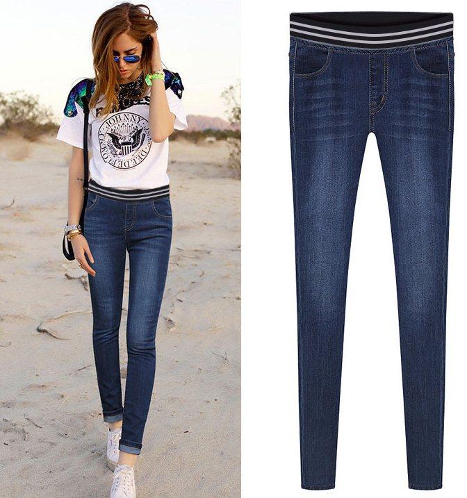 PreOrderไซส์ใหญ่ - กางเกงยีนส์ไซส์ใหญ่ เอวยืด ทรงสวย ใส่สบาย เป็นยีนส์ยืด สี : สีดำ / สีน้ำเงินเข้ม