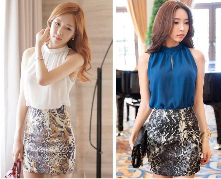 Pre Order เสื้อผู้หญิงแฟชั่นเกาหลี ผ้าชีฟอง แขนกุด ดีเทลเก๋ๆ สไตล์สาวเซกซี่ (มี2สี)