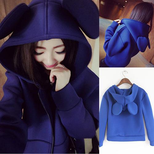 ++สินค้าพร้อมส่งค่ะ++ เสื้อ jacket เกาหลี แขนยาว มี hood หู Mickey น่ารัก ผ้า air layer เนื้อดี – สี Navy