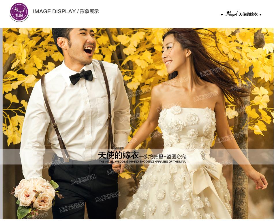 wedding ชุดแต่งงานเจ้าสาวแสนสวย โดดเด่นด้วยโบว์อันใหญ่และดอกไม้ 3มิติ ทั้งชุด