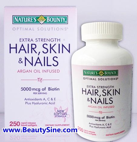 Nature's Bounty Hair Skin and Nails 5000 mcg of Biotin per serving 250 แคปซูล ไบโอตินเข้มข้น บำรุงผม ผิว และเล็บ ให้แข็งแรง