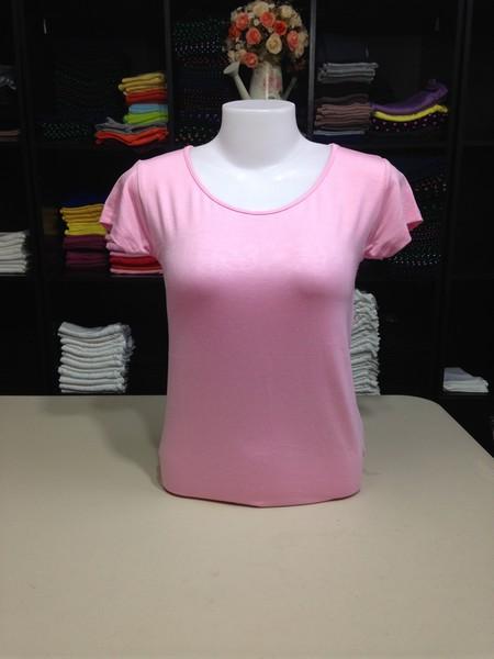 """เสื้อยืดคอกลม สีชมพูอ่อน size """"M"""""""