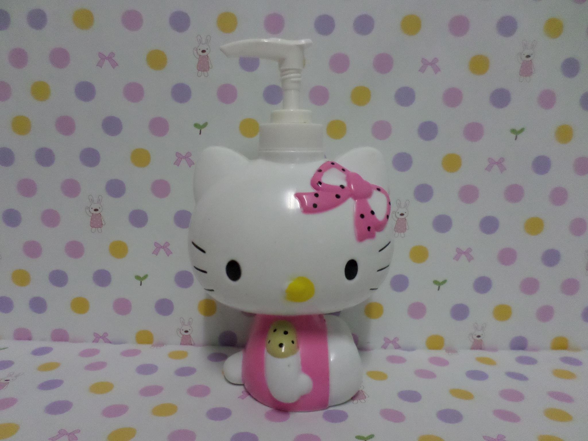 ขวดปั้มสำหรับใส่สบู่เหลว แชมพู ฮัลโหลคิตตี้ Hello kitty#3 ขนาดสูง 6 นิ้ว สีขาวชมพู ลายคิตตี้โบว์ชมพู