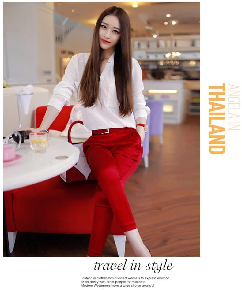 PreOrderไซส์ใหญ่ - เซตคู่เสื้อเชิ้ต-กางเกงขายาวคนอ้วน ไซส์ใหญ่ เสื้อแขนยาว กางเกงผ้ามัน ใส่แล้วสวยแน่นอน สี : เสื้อขาวกางเกงดำ / เสื้อขาวกางเกงแดง