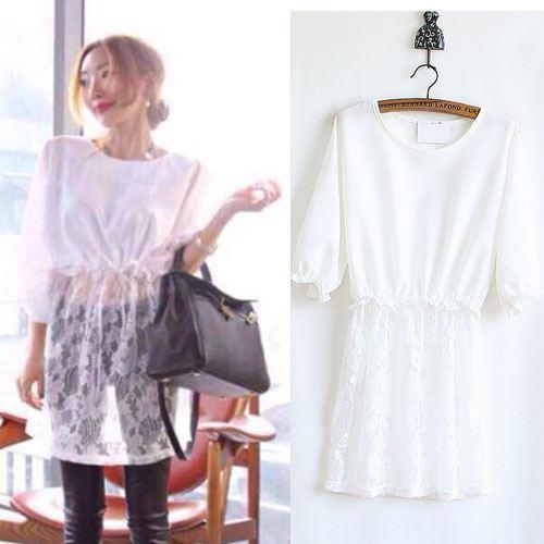 ++สินค้าพร้อมส่งค่ะ++ เสื้อแฟชั่นเกาหลี ตัวยาว คอกลม แขนสามส่วน ผ้าชีฟองตัดต่อลูกไม้ช่วงชายเสื้อ จั้มรอบเอวแบบยางยืด – สีขาว