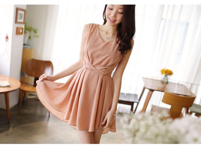 ชุดเดรสสั้น DRESS ชุดเดรส ผ้าซีฟอง คงรูปและทิ้งตัวดี โทนสี APRICOT มีซับใน ใส่ทำงาน ใส่เที่ยวได้ (พร้อมส่ง)