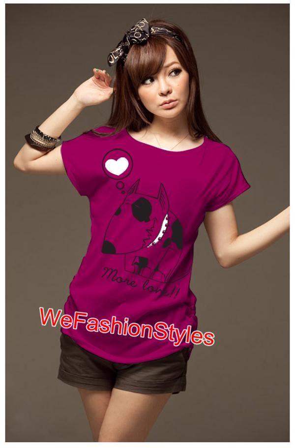 เสื้อยืดแฟชั่น ผ้านุ่ม ลายน้องหมา More Love สีชมพูบานเย็น