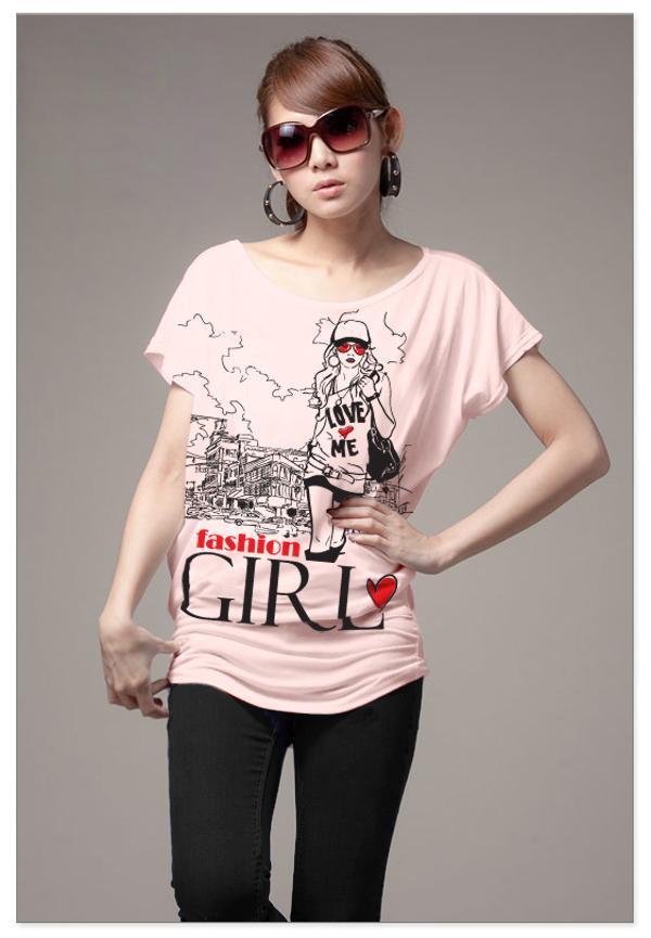 เสื้อยืดแฟชั่น ผ้านุ่ม ลาย Fashion Girl สีชมพูอ่อน