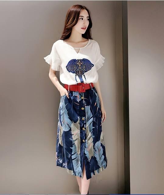 แฟชั่นเกาหลี set เสื้อ กระโปรง และเข็มขัดสวยสุดคุ้มจ้า