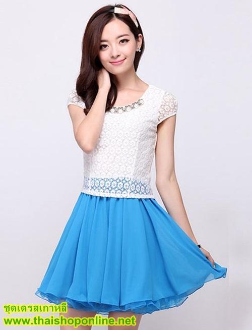 ชุดเดรสสั้น แฟชั่นเกาหลี น่ารัก สีฟ้า เสื้อลูกไม้ สีขาว แขนสั้น กระโปรงสั้นชีฟอง ซิปข้าง เหมือนแบบ (มีรูปสินค้าจริง) พร้อมส่ง