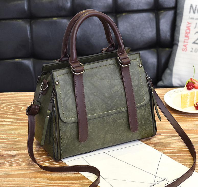 Pre-order ขายส่ง กระเป๋าถือและสะพายข้างสตรี เรียบหรู แต่งสายคาดคู่ แฟชั่นเกาหลี รหัส KO-500 สีเขียว