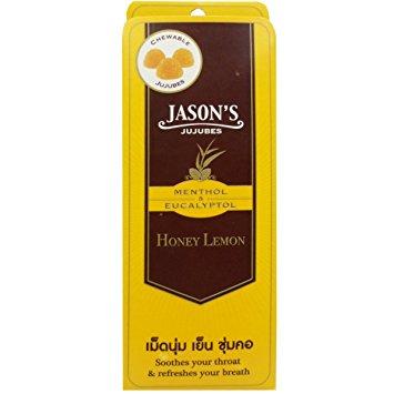 รสชาติยอดนิยม Jason's jujubes honey lamon เจสัน จูจุ๊บ ลูกอมเมนทอล และยูคาลิปตอล รสน้ำผึ้งผสมมะนาว 1 กล่อง