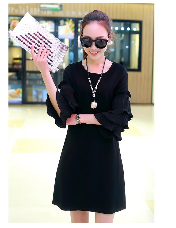 ชุดเดรสสีดำ ชุดสีดำ เดรสผ้าโพลีเอสเตอร์ผสมคอตตอนเนื้อนิ่มสีดำ