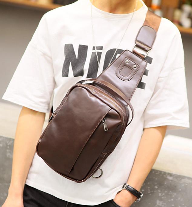 Pre-order กระเป๋าหนัง ผู้ชายคาดไหล่ Messenger bag ใส่ ipad 7.9 นิ้ว แฟขั่นเกาหลี รหัส Man-6619 สีกาแฟเข้ม