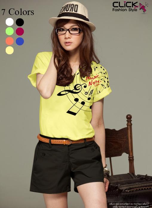 เสื้อยืดแฟชั่น แขนเบิ้ล ลาย New Music Note สีเหลือง
