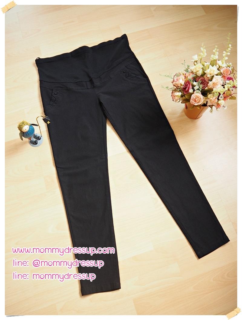 กางเกงทำงานขาเดฟสีดำ ผ้ายืดมีกระดุมผ้า 1 เม็ดตรงกระเป๋า ขอบกระเป๋าแต่งลายลูกไม้ ผ้านิ่มใส่สบายค่ะ เอวปรับระดับได้ตามอายุ ครรภ์ size XL สำเนา