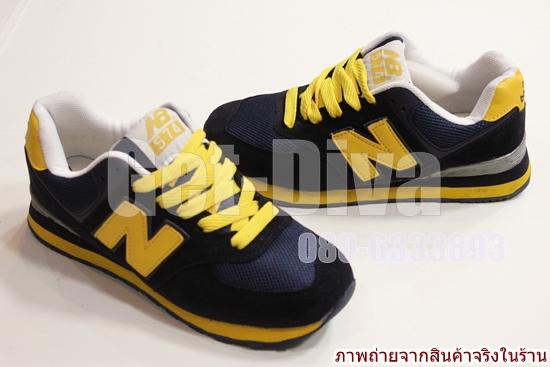 รองเท้าnewbalance-574 สีกรมท่าเข้ม N เหลือง(41-44)