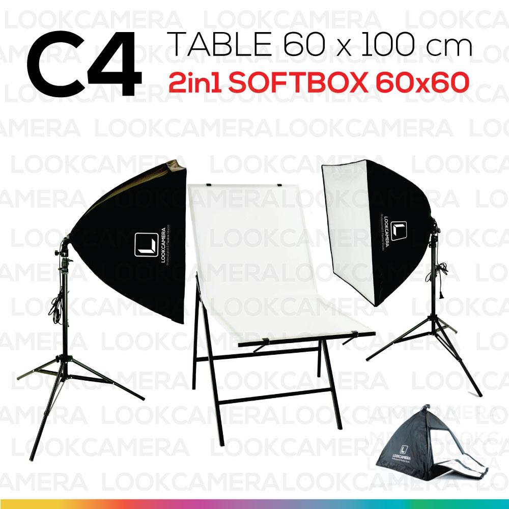 C4 โต๊ะถ่ายภาพสินค้าพับได้ 60x100 ซม.+ SOFTBOX 6060