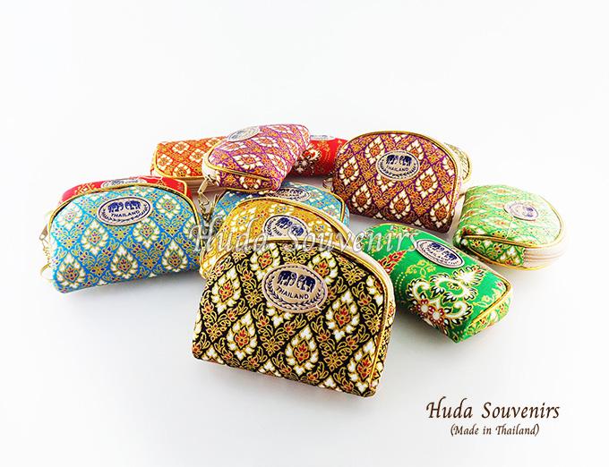 ของที่ระลึกไทย กระเป๋าใส่เศษสตางค์ ขอบทอง (ขนาด: ขอบทองจิ๋ว) ลายผ้าถุง หนึ่งโหลคละสี จำหน่ายยกโหล สินค้าพร้อมส่ง