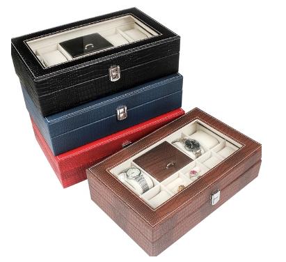(พร้อมส่ง) กล่องใส่นาฬิกา แหวน และมีช่องเก็บเครื่องประดับเช่นสร้อย(เลือกสีได้เลย)