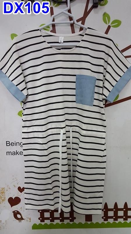 #เสื้อคลุมท้อง ผ้ายืดสีขาวลายขวาง คอกลมแขนสั้น กระเป๋าหน้า มีเชือกผูกเอวข้างหน้า ผ้านิ่มใส่สบายจร้า