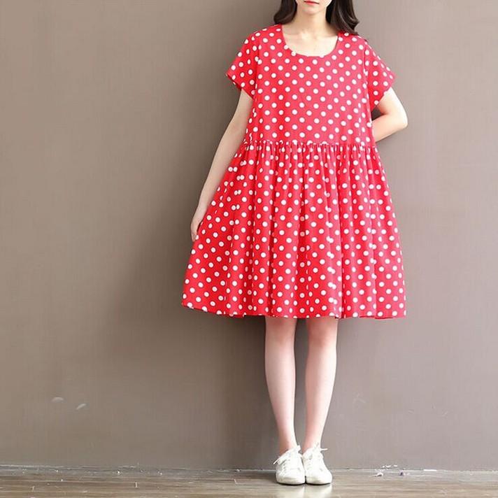 ชุดเดรสคลุมท้องสีแดงจุดขาว คอกลม แขนสั้น ทรงญี่ปุ่น น่ารักมากๆคร่า (เหมาะกับคุณแม่ตัวเล็กค่ะ)