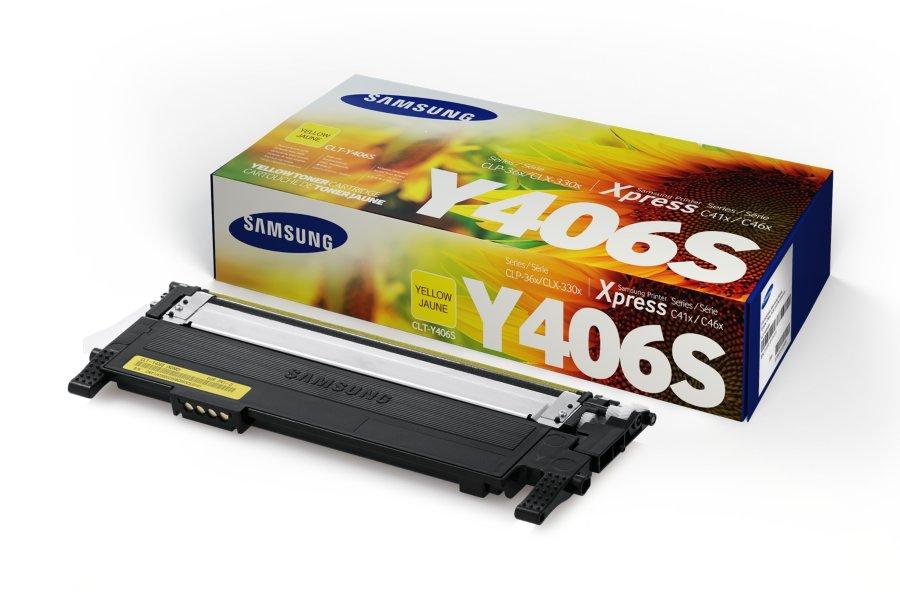 Samsung CLT-Y406S ตลับหมึกโทนเนอร์ สีเหลือง ของแท้ Yellow Original Toner Cartridge (SU464A)
